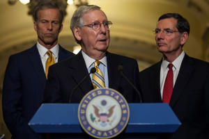 Senate Majority Leader Mitch McConnell (R-KY) speaks during a weekly press conference following a policy luncheon on Capitol Hill on June 13, 2017 in Washington, D.C.