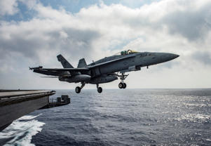 A U.S. Navy F/A-18E Super Hornet launches from the flight deck of the aircraft carrier USS Dwight D. Eisenhower in the Mediterranean Sea June 28, 2016.