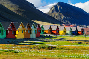 Colorful houses in Svalbard, Norway.