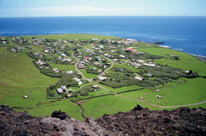 The settlement from the 1961 volcanic cone, with the ocean in the background, Edinburgh, Tristan da Cunha, Mid Atlantic.