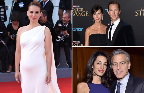 Slide 1 of 58: Natalie Portman; Benedict Cumberbatch and Sophie Hunter; Amal Clooney and George Clooney