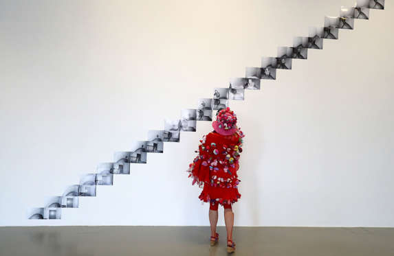 """Slide 34 de 36: Artist Alexandra Fly looks at """"Brabantdam 59, Gent, Downstairs-Upstairs"""" project by artist Danny Matthys displayed at Fridericianum gallery ahead of the opening of Germany's biggest art fair """"Documenta 14"""" in Kassel, Germany, June 7, 2017."""