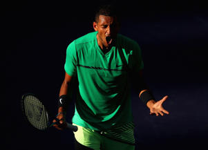 INDIAN WELLS, CA - MARCH 15:  Nick Kyrgios of Australia shows his emotion after a point during his straight set victory against Novak Djokovic of Serbia in their fourth round match during day ten of the BNP Paribas Open at Indian Wells Tennis Garden on M