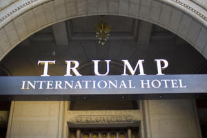 This Monday, Sept. 12, 2016, file photo, shows the exterior of the Trump International Hotel in downtown Washington.