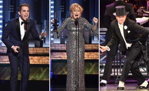 Ben Platt, Bette Midler and Kevin Spacey onstage during the 2017 Tony Awards at Radio City Music Hall on June 11, 2017 in New York City.