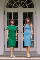 "WASHINGTON, DC - JUNE 19: Lorena Castillo, Panama's President Juan Carlos Varela's wife, and first lady Melanie Trump stand outside the Oval Office after the arrival of President Varela and Lorena Castillo, at the White House on June 19, 2017 in Washington, DC. According to the White House, the two presidents will talk about how to curb ""transnational organized crime, illegal migration, and illicit substances""  and the continued political and economic instability in Venezuela.  (Photo by Molly Riley- Pool/Getty Images)"