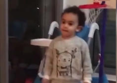 3 year old kid shows off some serious skills with a ball