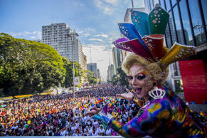 LGBT Pride Parade, Sao Paulo, Brazil - 18 Jun 2017 Revellers take part in the Gay Pride parade.