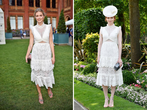 Slide 1 of 42: (L) Donna Air at the Victoria and Albert Museum Summer Party in London, UK on June 21, 2017. (R) Eleanor Tomlinson at Royal Ascot (Day Two) on June 21, 2017.