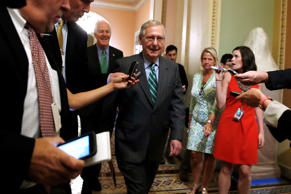 Senate Majority Leader Mitch McConnell of Ky., center, followed by Majority Whip John Cornyn, R-Texas, leaves a Republican meeting on healthcare, Thursday, June 22, 2017, on Capitol Hill in Washington.