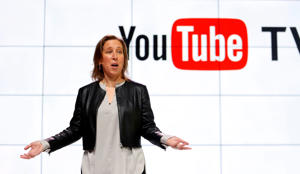 FILE - In this Tuesday, Feb. 28, 2017, file photo, YouTube CEO Susan Wojcicki speaks during the introduction of YouTube TV at YouTube Space LA in Los Angeles. Google's online package of about 40 television channels debuts on Wednesday, April 5, 2017, in the tech industry's latest bid to get cable-shunning millennials to pay for television. (AP Photo/Reed Saxon, File)
