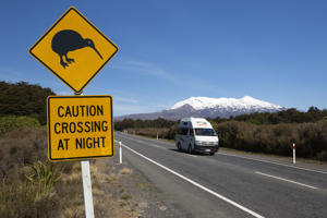 Mount Ruapehu with Kiwi crossing sign, Tongariro National Park.