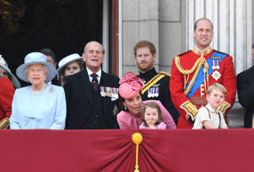 Her Majesty The Queen and Philip, The Duke of Edinburgh, Prince Harry, Catherine, Duchess of Cambridge, Princess Charlotte, Prince George and Prince William The Duke of Cambridge attending Trooping the Colour on The Mall, London.