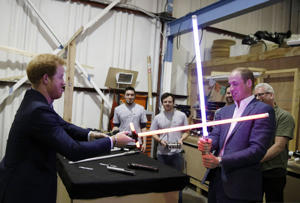 Prince William and Prince Harry tour Star Wars sets at Pinewood Studios, Iver Heath, Buckinghamshire, Britain - 19 Apr 2016