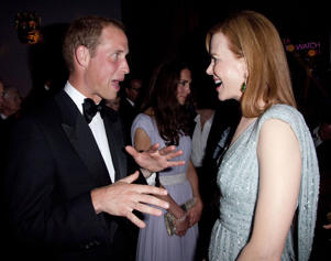 LOS ANGELES, CA - JULY 09: Prince William, Duke of Cambridge speaks to Nicole Kidman at the 2011 BAFTA Brits To Watch Event at the Belasco Theatre on July 9, 2011 in Los Angeles, California. The newlywed Duke and Duchess of Cambridge were in attendance on the ninth day of their first joint overseas tour visiting Canada and the United States. (Photo by