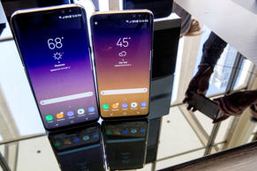 In this Wednesday, March 29, 2017, file photo, the Samsung Galaxy S8, right, and S8 Plus appear on display after a news conference, in New York.