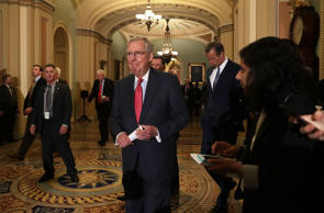 U.S. Senate Majority Leader Sen. Mitch McConnell (R-KY) approaches the podium to...