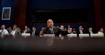Former Homeland Security Secretary Jeh Johnson testifies to the House Intelligence Committee task force on Capitol Hill in Washington, Wednesday, June 21, 2017, as part of the Russia investigation.