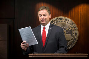 Sen. Dean Heller, R-Nev., during a press conference where he announced he will v...