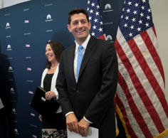 House Speaker Paul Ryan of Wis., joined by Rep. Martha Roby, R-Ala., arrives for a news conference on Capitol Hill in Washington, Tuesday, June 27, 2017.