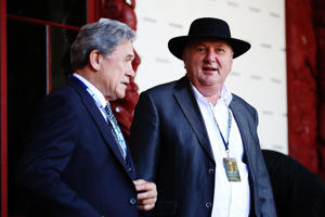 Shane Jones talks to Winston Peters at Waitangi in june.