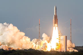 File image - The Ariane 5 rocket lifts off from the Ariane Launchpad Area at the European Spaceport in Kourou, French Guiana, on October 5, 2016. The rocket successfully launched a pair of communications satellites, the Australian SKY Muster II and the Indian GSAT-18.