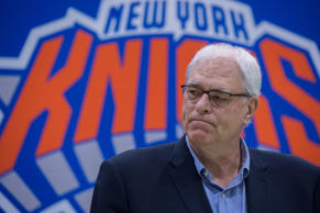 New York Knicks President Phil Jackson speaks with the media att Madison Square Garden training center on July 8, 2016 in Tarrytown, New York.