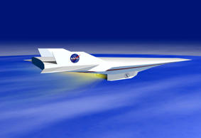 This artist's depiction shows a X-43A Hyper-X research vehicle under scramjet power in flight. NASA is scheduled to attempt to break its own aircraft speed record during the week of November 15, 2004 by flying a pilotless version of the aircraft 110,000 feet above the Pacific Ocean at 7,200 miles per hour, close to Mach 10. Scramjet technology, using oxygen taken from the atmosphere unlike rockets which must carry oxygen onboard, may eventually allow airplanes to travel from San Francisco to Washington, DC in about 20 minutes.