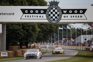 CAPTION: CHICHESTER, ENGLAND - JULY 01: Cars race at Goodwood Festival of Speed on July 01, 2017 in Chichester, England. The Goodwood Festival of Speed is an annual motor racing event held in the grounds of Goodwood House. The four day event features a hill climb and displays of super and classic cars. (Photo by Jack Taylor/Getty Images)