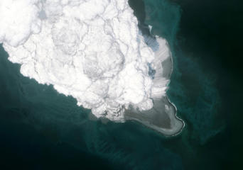 This is an AFTER ERUPTION DigitalGlobe satellite imagery of the Bogoslof Volcano, in the Aleutian island chain in Alaska.