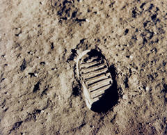One of the first steps taken on the Moon, this is an image of Buzz Aldrin's bootprint from the Apollo 11 mission. Neil Armstrong and Buzz Aldrin walked on the Moon on July 20, 1969. (Canadian Press/REX/Shutterstock)