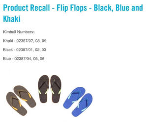 The serial numbers of affected flip flops are: khaki 02387/07, 08, 09; black 02387/01, 02, 03 and blue 02387/04, 05, 06 (Image: Primark)
