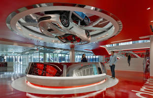 Located a couple of miles away from Santa Monica State Beach, the automotive-themed HQ, or 'Edquarters', wows with a gravity-defying installation of 1966 and 2016 Corvettes that rotate above the reception area.