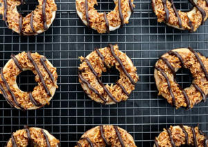 a group of different types of food on a grill: Homemade Samoa-Inspired Cookies