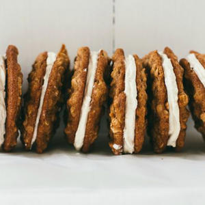 a row of food on a table: Oatmeal Cream Pies
