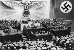 1939-09-01: Session of the Reichstag in the Kroll-Oper in Berlin, Adolf Hitler legitimates the military aggression against Poland in his speech