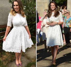 Katie wearing a slightly different version of the Zimmerman dress Kate wore in Australia (Image: PA Real Life/PA Images)
