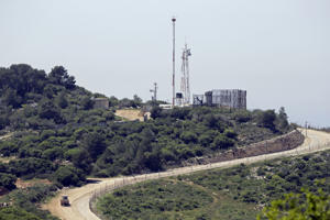 A general view taken from the Lebanese side of the border with Israel shows an Israeli observation station near the Israeli kibbutz of Hanita on April 20, 2017. Lebanon's Shiite Hezbollah movement, which fought a devastating war with the Jewish state in 2006, brought dozens of journalists to the demarcation line between Lebanon and Israel, to show that Israel is building up defences in anticipation of another conflict. / AFP PHOTO / JOSEPH EID (Photo credit should read JOSEPH EID/AFP/Getty Images)