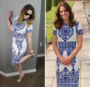 Katie wearing a copycat version of theblue and white dress worn by Kate to the Taj Mahal (Image: PA Real Life/PA Images)