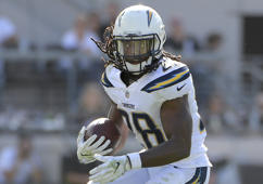 Los Angeles Chargers running back Melvin Gordon (28) rushes for yardage during the first half of an NFL football game against the Jacksonville Jaguars Sunday, Nov. 12, 2017, in Jacksonville, Fla.