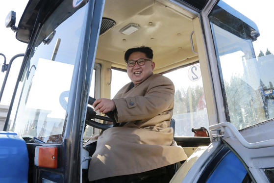 This undated picture released from North Korea's official Korean Central News Agency (KCNA) on November 15, 2017 shows North Korean leader Kim Jong-Un inspecting the Kumsong Tractor Factory in Nampo City, North Korea.