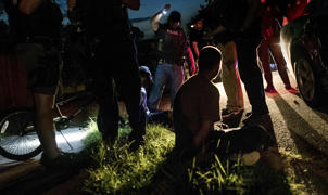Northern Virginia Gang Task Force officers partner with ICE officers to arrest several alleged MS-13 gang members in a Manassas, Virginia neighborhood Thursday evening August 10, 2017.