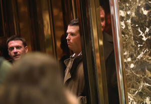 Donald Trump Jr. arrives at Trump Tower on January 18, 2017 in New York City.