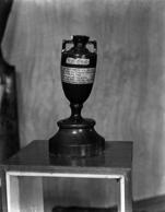 The urn containing the coveted 'ashes' contested for by England and Australia in the time-honored cricket series. The trophy is situated in the Long Room of the Pavilion at Lord's, London.