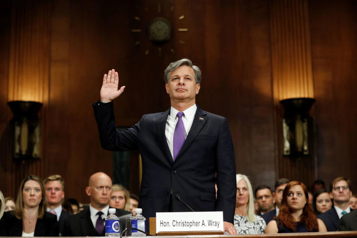 FBI Director nominee Christopher Wray is sworn-in on Capitol Hill in Washington, Wednesday, July 12, 2017, prior to testifying at his confirmation hearing before the Senate Judiciary Committee.
