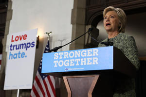 FILE: PHILADELPHIA, PA - SEPTEMBER 19: Democratic presidential nominee former Secretary of State Hillary Clinton delivers a speech at Temple University on September 19, 2016 in Philadelphia, Pennsylvania.