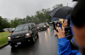 President Donald Trump's motorcade arrives at Trump National Golf Club during the second round of the U.S. Women's Open Golf tournament Friday, July 14, 2017, in Bedminster, N.J.