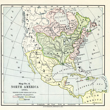 Slide 1 of 10: Color-coded map, entitled 'Map No 4, North America, 1750,' illustrates claims which originated from exploration and occupancy by the English, the French, and the Spanish, published in 1898. Visible are the English colonies and Newfoundland, the Hudson's Bay Company territories, New Spain and Florida, New France and Louisiana, and unexplored territories in the northwest region of the continent. The map was created by British publisher Longmans, Green, & Co, and engraved by New York-based Struthers & Co.
