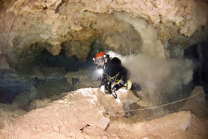It is easy to kick up sediment in Mallorca's underwater caves