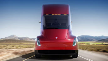 This photo provided by Tesla shows the front of the new electric semitractor-trailer unveiled on Thursday, Nov. 16, 2017. The move fits with Tesla CEO Elon Musk's stated goal for the company of accelerating the shift to sustainable transportation.